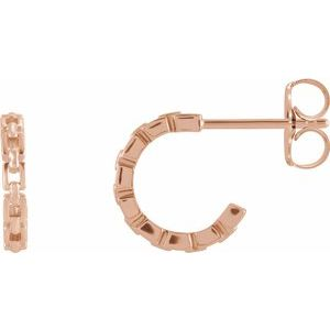 14K Rose 10.23 mm Chain Link Hoop Earrings - Siddiqui Jewelers