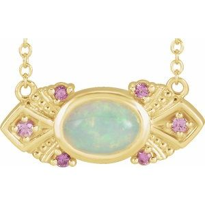 "14K Yellow Ethiopian Opal & Pink Sapphire Vintage-Inspired 18"" Necklace - Siddiqui Jewelers"