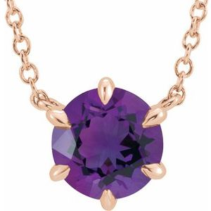 "14K Rose Amethyst Solitaire 18"" Necklace"