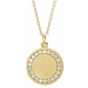 "14K Yellow 1/5 CTW Diamond Engravable 16-18"" Necklace - Siddiqui Jewelers"