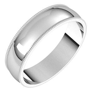 Platinum 5 mm Milgrain Half Round Light Band Size 9 - Siddiqui Jewelers