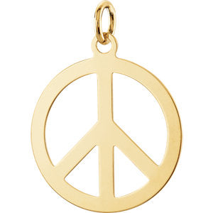 14K Yellow Circle Peace Sign Pendant - Siddiqui Jewelers