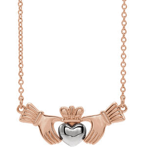 "14K Rose & White Claddagh 16"" Necklace - Siddiqui Jewelers"