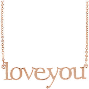 "14K Rose ""Love You"" 16 1/2"" Necklace - Siddiqui Jewelers"
