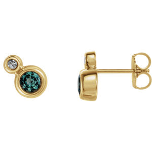 14K Yellow Alexandrite & .03 CTW Diamond Earrings - Siddiqui Jewelers