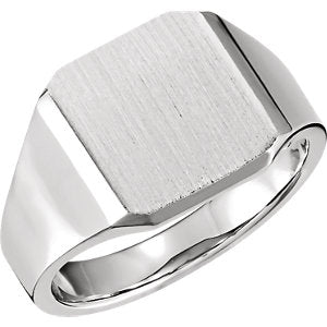 Sterling Silver 14 mm Octagon Signet Ring - Siddiqui Jewelers