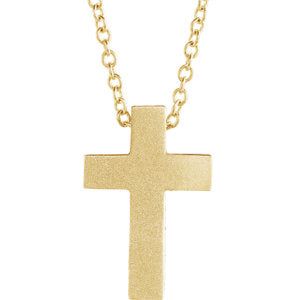 "14K Yellow 13.5x9 mm Scroll Cross 16-18"" Necklace - Siddiqui Jewelers"