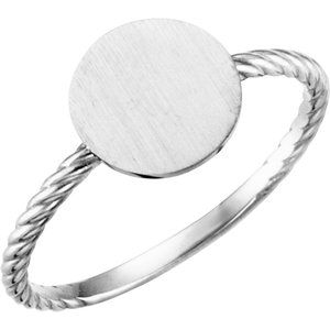 Continuum Sterling Silver Round Engravable Rope Ring - Siddiqui Jewelers