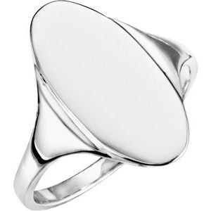 14K White 16.4x8.5 mm Oval Signet Ring - Siddiqui Jewelers