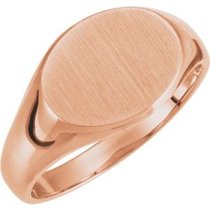 14K Rose 12x9 mm Oval Signet Ring - Siddiqui Jewelers