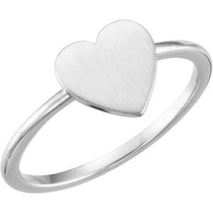 Continuum Sterling Silver Heart Engravable Ring - Siddiqui Jewelers