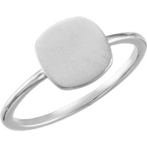 Continuum Sterling Silver Cushion Engravable Ring - Siddiqui Jewelers