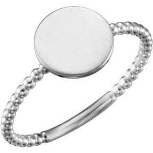 Continuum Sterling Silver Round Engravable Beaded Ring - Siddiqui Jewelers