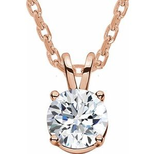 "14K Rose  1/4 CT Lab-Grown Diamond Solitaire 16-18"" Necklace - Siddiqui Jewelers"