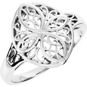 14K White Filigree Ring - Siddiqui Jewelers