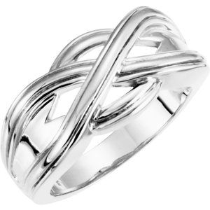 14K White Woven-Design Band - Siddiqui Jewelers