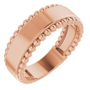 14K Rose Engravable Beaded Ring - Siddiqui Jewelers