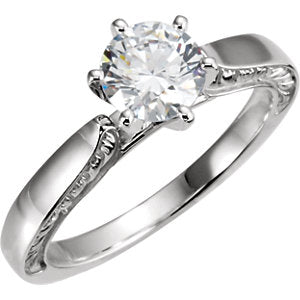 10K & 14K White Cubic Zirconia Engagement Ring