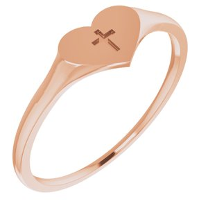 14K Rose Heart & Cross Ring Size 5 - Siddiqui Jewelers