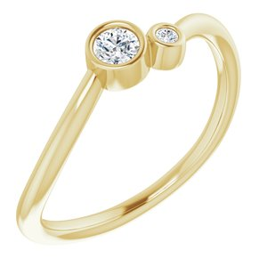 14K Yellow 1/8 CTW Diamond Two-Stone Ring - Siddiqui Jewelers