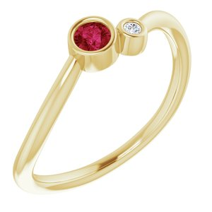 14K Yellow 3 mm Round Chatham® Lab-Created Ruby & .02 CT Diamond Ring - Siddiqui Jewelers