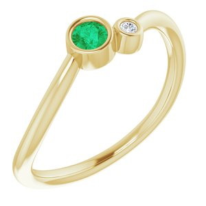 14K Yellow Emerald & .02 CTW Diamond Two-Stone Ring - Siddiqui Jewelers