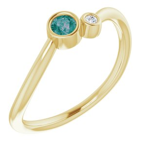 14K Yellow Alexandrite & .02 CTW Diamond Two-Stone Ring - Siddiqui Jewelers