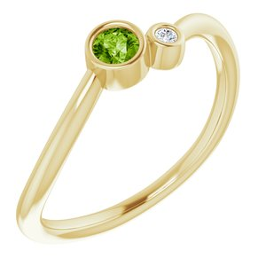 14K Yellow Peridot & .02 CTW Diamond Two-Stone Ring - Siddiqui Jewelers