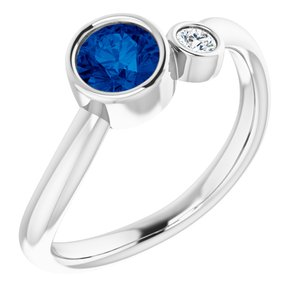 14K White Blue Sapphire & .06 CT Diamond Two-Stone Ring - Siddiqui Jewelers