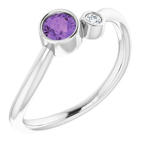 14K White Amethyst & .03 CT Diamond Two-Stone Ring - Siddiqui Jewelers