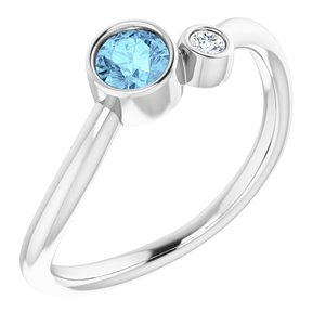 14K White Aquamarine & .03 CT Diamond Two-Stone Ring - Siddiqui Jewelers