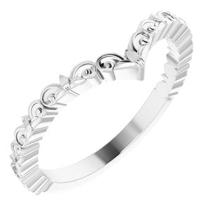 "Sterling Silver Vintage-Inspired ""V"" Ring - Siddiqui Jewelers"