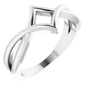 14K White Geometric Negative Space Ring - Siddiqui Jewelers