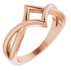 14K Rose Geometric Negative Space Ring - Siddiqui Jewelers