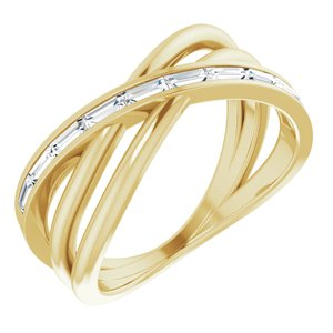 14K Yellow 1/3 CTW Diamond Criss-Cross Ring - Siddiqui Jewelers