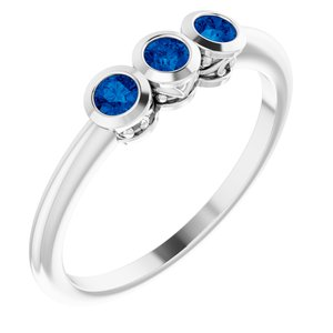 Sterling Silver Blue Sapphire Three-Stone Bezel-Set Ring - Siddiqui Jewelers