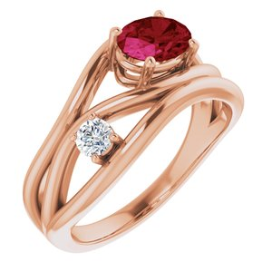 14K Rose Chatham® Created Ruby & 1/10 CTW Diamond Ring - Siddiqui Jewelers