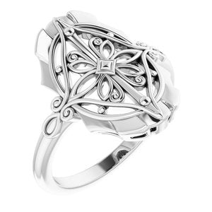 14K White Vintage-Inspired Ring - Siddiqui Jewelers