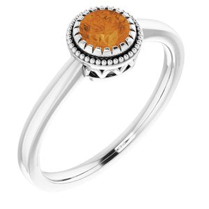 "14K White Citrine ""November"" Birthstone Ring - Siddiqui Jewelers"