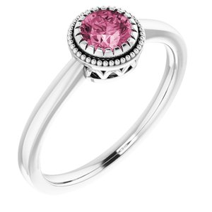 "14K White Pink Tourmaline ""October"" Birthstone Ring - Siddiqui Jewelers"