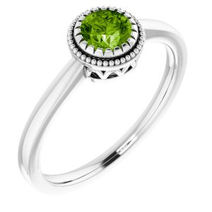 "14K White Peridot ""August"" Birthstone Ring - Siddiqui Jewelers"