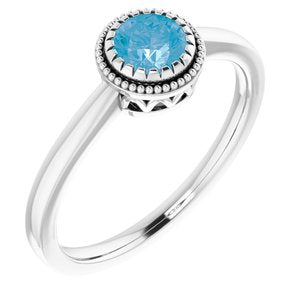 "14K White Swiss Blue Topaz ""December"" Birthstone Ring - Siddiqui Jewelers"