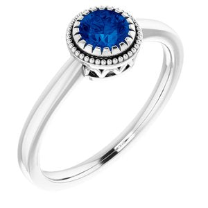"14K White Blue Sapphire ""September"" Birthstone Ring - Siddiqui Jewelers"