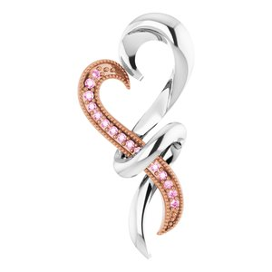 Sterling Silver with Rose Rhodium-Plating Pink Sapphire Heart Pendant - Siddiqui Jewelers