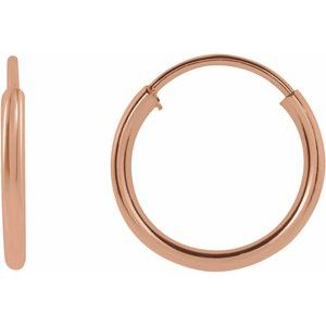 14K Rose 10 mm Flexible Endless Hoop Earrings - Siddiqui Jewelers