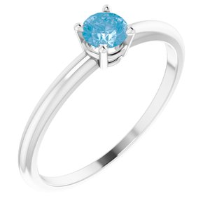 14K White 3 mm Round Swiss Blue Topaz Birthstone Ring Size 3 - Siddiqui Jewelers