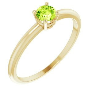 14K Yellow 3 mm Round Peridot Birthstone Ring Size 3 - Siddiqui Jewelers