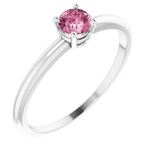 14K White 3 mm Round Pink Tourmaline Birthstone Ring Size 3 - Siddiqui Jewelers