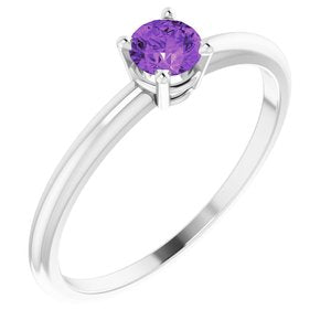14K White 3 mm Round Amethyst Birthstone Ring Size 3 - Siddiqui Jewelers