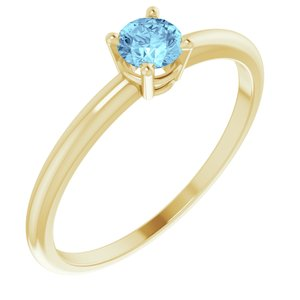 14K Yellow 3 mm Round Aquamarine Birthstone Ring Size 3 - Siddiqui Jewelers